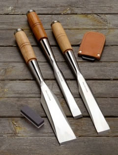 Set of 3 Traditional Framing chisels with tip guards