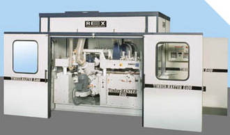 Safety and noise reduction cabin for 4-sided planers